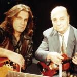 1997. Με τον Γιώργο Κόρο σε γυρίσματα της εκπομπής Χάριν Ευφωνίας.